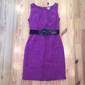 Purple Worthington Sleeveless Belted Dress